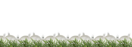 Silver balls and juniper Royalty Free Stock Photo
