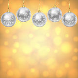 Silver balls with snowflakes ornament Stock Image