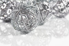 Silver balls on white background stock image