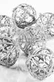 Silver balls on white background Royalty Free Stock Photography