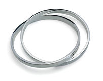Silver bangle. Solid sterling silver bangle isolated on white Royalty Free Stock Photography