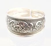 Silver bangle. This is a beautiful silver bangle -- handmade item Royalty Free Stock Images