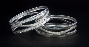 Silver bangles and Gents kada & x28; Band & x29; Stock Images