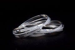 Silver Bangles. WhiteAngle New Design& x27;s Royalty Free Stock Photos