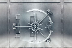 Silver bank vault front. Front  view of light silver bank vault door, closed. 3D Render Stock Photography