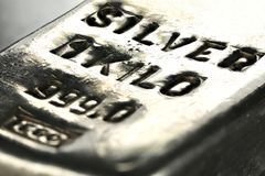 Silver bar. 1 kilo 999 fine silver bar royalty free stock photos