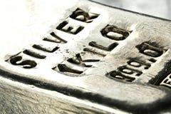 Silver bar. 1 kilo 999 fine silver bar stock photo
