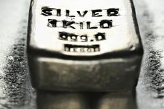 Silver bar. 1 kilo 999 fine silver bar stock photos