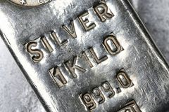 Silver bar. 1 kilo 999 fine silver bar royalty free stock photo