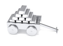 Silver bar miniature toy cart isolated Stock Photography