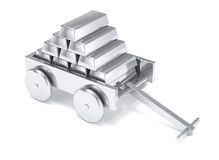 Silver bar miniature toy cart isolated Royalty Free Stock Photography