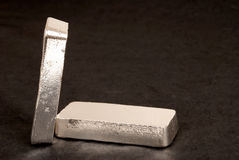 Silver bars. 1 kg bars of 999 silver leaning against each other Stock Photography