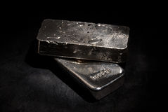 Silver bars. Two 1 kilo 999 silver bars shot with spotlight Stock Photography