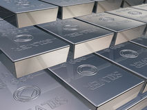 Silver bars. Illustration of silver reserves piled high in a stack Stock Images