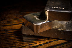 Silver bars closeup Stock Images
