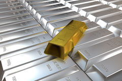 Silver bars and one goldbar Stock Photo