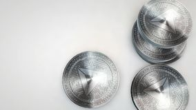 Silver basic attention token coins falling on white background. Animation stock video