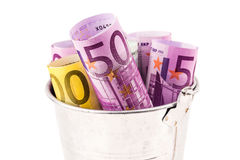 Silver basket full of big euro banknotes Royalty Free Stock Images