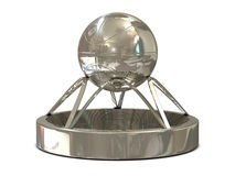 Silver basketball trophy with ball and stadium Royalty Free Stock Image