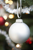 Silver Bauble Hanging On Christmas Tree Royalty Free Stock Photo