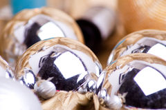 Silver baubles Stock Image