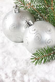 Silver baubles. Stock Photo
