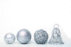 Silver baubles royalty free stock photography