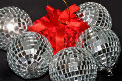 Silver Baubles and red box Royalty Free Stock Photo