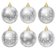 Silver baubles. Set of silver baubles with ornament isolated on white Royalty Free Stock Photos