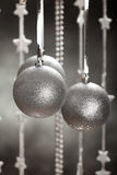 Silver baubles - xmas decoration. Silver baubles on gray background - xmas decoration Stock Images