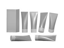 Silver  beauty hygiene tube with clipping path Royalty Free Stock Photos