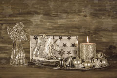 Silver and beige christmas decoration with present, angel and ca Royalty Free Stock Photo