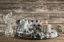 Silver and beige christmas decoration with present, angel and ca Stock Photo