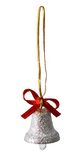 Silver bell. Silver new year small bell Royalty Free Stock Photography
