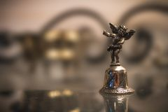 Silver Bell With Angel Macro stock image