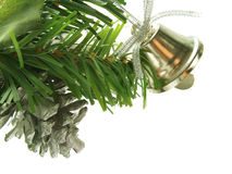 Silver bell as Christmas tree decoration Stock Images