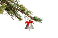 Silver bell on a spruce tree branch Stock Photo