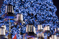 Silver Bells. And blue illuminated light Stock Photo