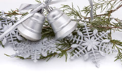 Silver Bells. Silver christmas bells on a white background, Christmas Time Royalty Free Stock Image