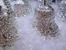 Silver Bells. Sliver Bells in snow Royalty Free Stock Images
