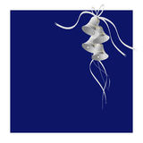 Silver Bells. On a blue background with a white border Stock Images