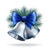 Silver bells with blue ribbon Royalty Free Stock Images
