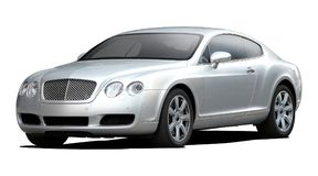 Silver bentley coupe  continental . Royalty Free Stock Image