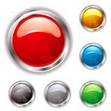 Silver Bevel Gel Button Royalty Free Stock Photos