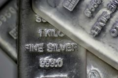 Silver Bilion bars royalty free stock photos