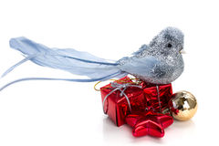 Silver bird, christmas gifts, decorations Stock Photo
