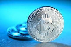 Silver Bitcoin coin Royalty Free Stock Image