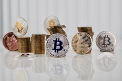 Silver bitcoin coin Royalty Free Stock Images