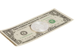 Silver  bitcoin coin and one  dollar banknote Stock Photo