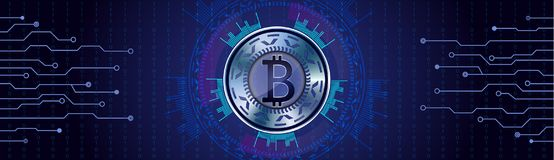 Silver Bitcoin concept on futuristic HUD background qith numbers Stock Photography